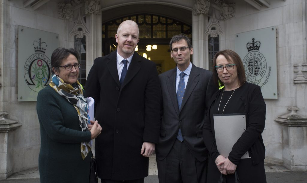 L-R Beverly Jones (Jones Cassidy Brett Solicitors), Kevin Hanratty (Human Rights Consortium), Professor Daniel Halberstam (Jones Cassidy Brett Solicitors) & Fiona Cassidy (Jones Cassidy Brett Solicitors) pictured outside the Supreme Court in London.