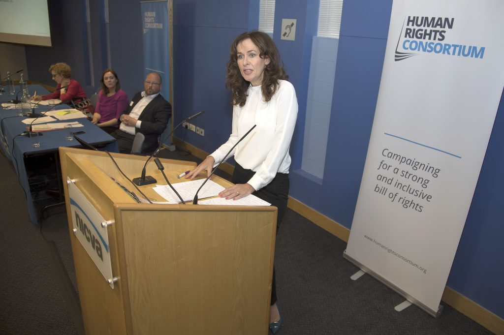 Copyright © Kevin Cooper Photoline NUJ: Professor Deirdre Heenan, UU, speaking at a One day conference on Brexit: Charting a Way Forward A Civil Society Dialogue on Thursday 15th June 2017 in NICVA, Duncairn Gardens, Belfast. The speakers included: Kevin Hanratty, Director, Human Rights Consortium, EU perspective, Colette FitzGerald, Head of European Commission in Belfast, Dr Claire McCann, Human Rights Consortium, Patricia McKeown, Regional Secretary, UNISON, Professor Dagmar Schiek, QUB, Ruth Taillon, Centre for Cross Border Studies, Edel Quinn, Age NI, Claire Bradley, Children's Law Centre, Patrick Malone, Disability Action, Geoff Nuttall, Head of Policy & Public Affairs, NICVA, Declan Billington, NI Food and Drink Association, Professor David Phinnemore, QUB Louise Coyle, NI Rural Women's Network, James Orr, Friends of the Earth Aidan Campbell, Rural Community Network, Dr Brian Jack, QUB, Paddy Kelly, Director, Children's Law Centre, Angela McGowan, CBI, Owen Reidy, NIC-ICTU, Patrick Yu, NI Council for Racial Equality, Fergal McFerran, NUS-USI, Conor Houston, Centre for Democracy & Peace Building, feedback by Professor Deirdre Heenan, UU.